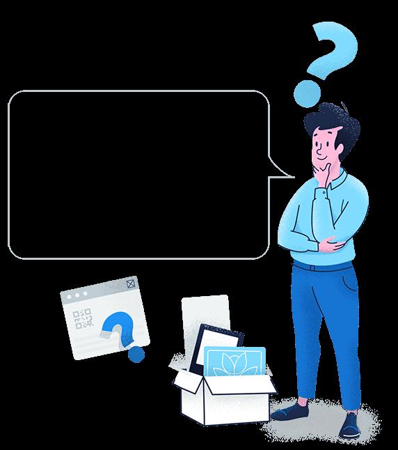 Eine Illustration, die Benutzer einlädt, das Support-Team von QR Code Generator per E-Mail oder Chat zu kontaktieren