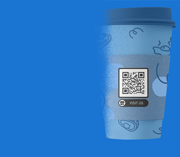 Business page QR Code on a cup at a cafe