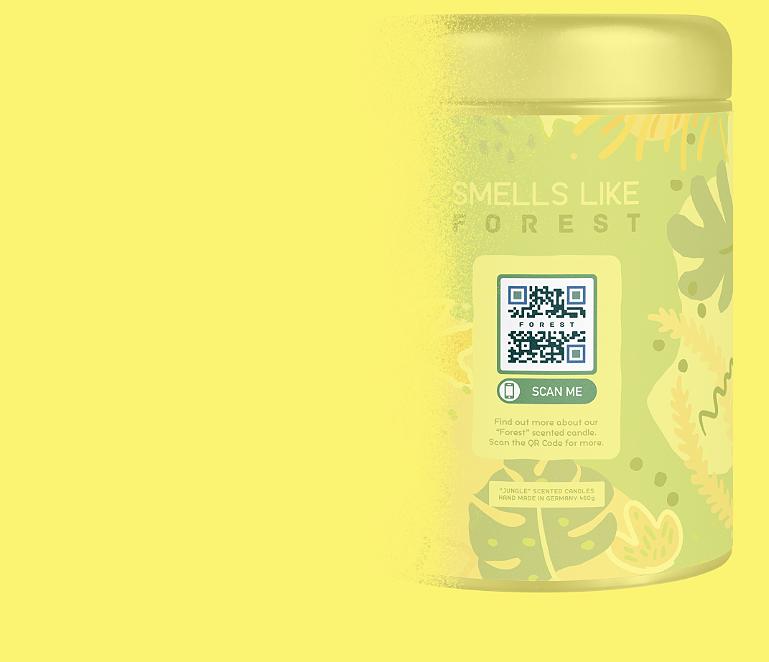QR-Code-Idee auf einer Konsumgüterverpackung, die eine Webseiten-URL verlinkt