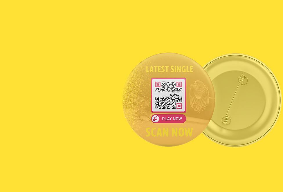 MP3-QR Code-Idee auf einem Merchandise-Artikel einer Band