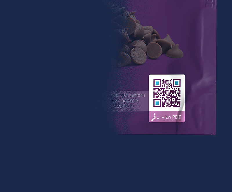 QR Code example on a consumer product packaging that displays a downloadable PDF file.