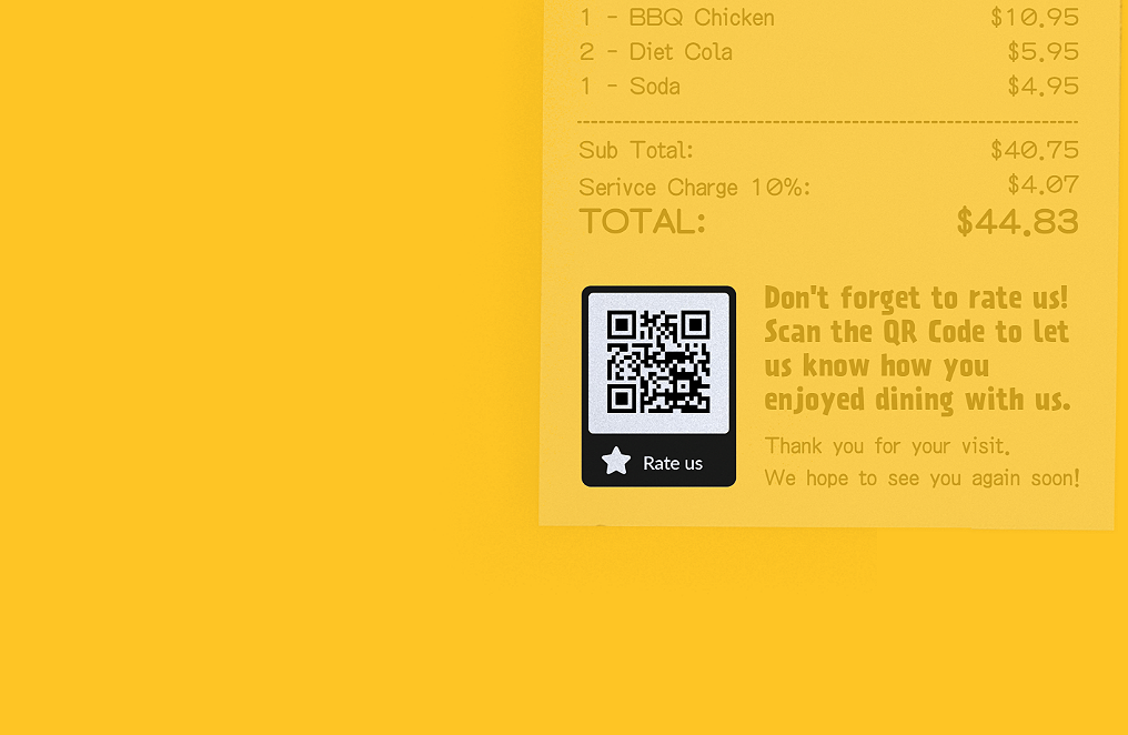 Rating QR Code idea on a restaurant receipt