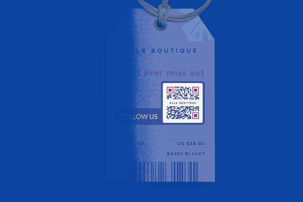 QR Code numa etiqueta de roupa que exibe canais de redes sociais em uma página